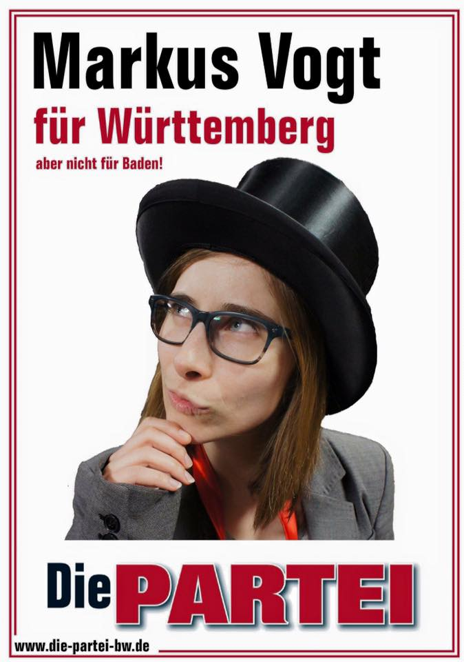 Wahlplakat der PARTEI Markus Vogt als Frau